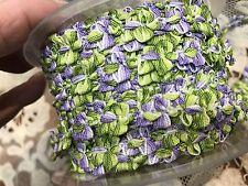 "VINTAGE FRENCH ROCOCO Florettes TRIM RIBBON 1yd 3/8"" Green & Purple"