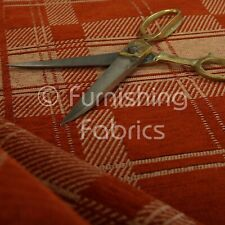 Modern Tartan Pattern Orange Peach Colour Chenille Tapestry Upholstery Fabrics