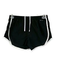 Nike Dri Fit Womens sz M Black Athletic Running Shorts Drawstring Elastic Waist