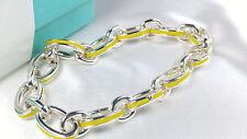 Tiffany & Co. Yellow Enamel Oval Clasping Link Bracelet 7.5 Sterling Silver 925