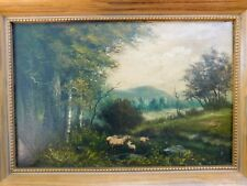 "Oil Painting Landscape & Animals Signed ""Millrese"" Framed Oil/Canvas"