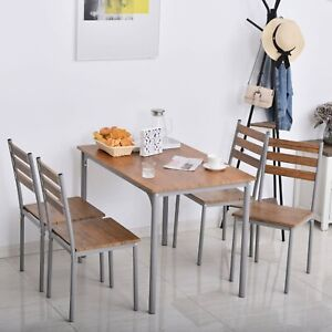 4 Seater Dining Table Chairs Set Brown Compact Space Saving Kitchen Furniture