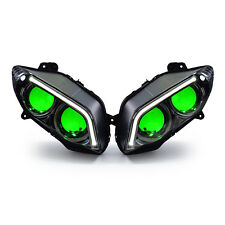 KT Headlight Assembly LED & HID Projector for Yamaha R1 04-06 Green Demon Eyes