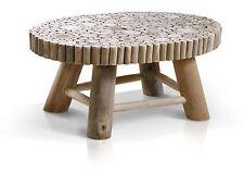 Ovaler Couchtisch aus Teakästen 90x60 cm Teakholz Holztisch aus TEAK Ästen