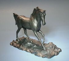 HUDSON VINTAGE PEWTER WILD HORSE SCULPTURE-Great GIft for Your Horse Lover