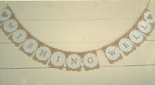 WISHING WELL wedding banner w/doilies -decoration - bunting flags/garland - sign
