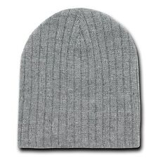HEATHER GREY CABLE KNIT SHORT BEANIE CAP SKI SKULL CAPS HAT HATS