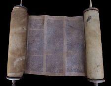Antique Complete Torah Bible Scroll Manuscript On Deer Parchment Morocco Ca 1600