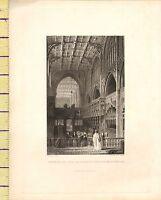 C1790 Antik Georgianisch Aufdruck ~ Interior Von College Kirche Manchester