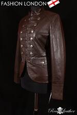 'LEGION' Ladies Military Parade Brown Designer Fashion Lambskin Leather Jacket
