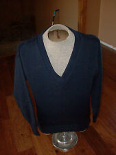 GENUINE ITALIAN MILITARY WOOL SWEATER DARK BLUE V NECK 100% WOOL SIZE SMALL