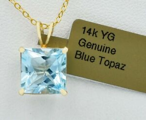 GENUINE 4.25 Cts BLUE TOPAZ PENDANT 14K GOLD * MADE IN USA * Free Appraisal *