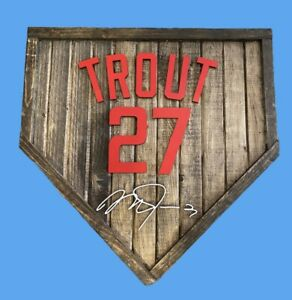 "Custom Wood Baseball Home Plate 17"" x 17"" ~ You Pick the Name/Number/Autograph"