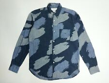 SS15 Our Legacy Camo Painted Indigo Japanese Hemp 1950's Shirt Size 46 / S