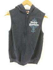 Harley Davidson navy sleeveless hoodie hooded zip sweatshirt vest small