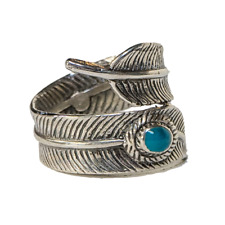 Native American Feather Turquoise Ring .925 silver Metal Biker Gothic feeanddave