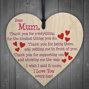 Mum I Love You Everyday Wooden Hanging Heart Mothers Day Gift Cute Mums Sign New