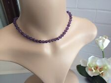 7mm natural Amethyst Stones Beaded Short charm necklace - Birthstone Gifts Ideas
