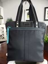 COACH LARGE NYLON SHOPPER TOTE BLACK WITH TEAL STITCH F10696