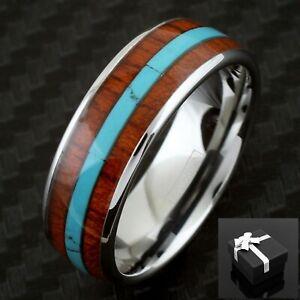8mm Silver Tungsten Koa Wood w/ Turquoise Stripe Men's Wedding Band Ring