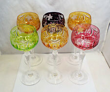 """Nachtmann Traube 6 Cut to Clear Crystal Wine Hock Glasses, w/ boxes, 8 1/8"""""""