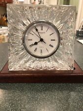 "WATERFORD CRYSTAL QUARTZ DESK CLOCK W/STAND SIGNED MADE IN IRELAND 4-7/8"" SQUARE"