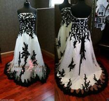 plus Size White/Black Lace Wedding Dress Bridal Gown Custom size 4-28++