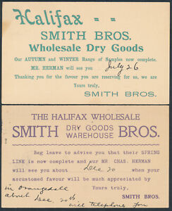 1904 Two #P23 Edward VII PSC, Smith Bros Dry Goods Salesman Calling Cards