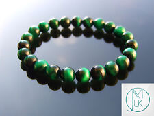 Green Tigers Eye Dyed Natural Gemstone Bracelet 6-9'' Elasticated Healing Stone