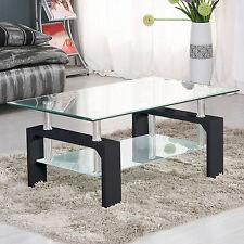 Rectangular Glass Wood Coffee Table Shelf Chrome Living Room Furniture Black