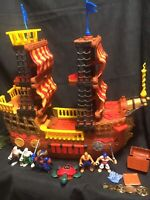 2006 Mattel Fisher PrIce Imaginext Pirate Ship Boat RETIRED w/ 5 Figures Red EUC