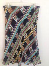 Women's Silk Skirt 100% Silk Flowy Black A-line floral skirt Size 6 by Harold's