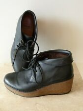 Scholl Wedge Ankle Boots Black Leather Size 4