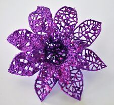 "5"" Purple Glitter Poinsettia Hair Clip Holiday Festive Christmas Handmade"