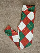 LuLaRoe OS Christmas Plaid ~ Red Green and White with Yellow Accent Kids s/m