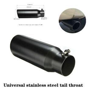 76.2-102mm Car Black Stainless Steel Exhaust Pipe Muffler Tip Tail Throat Trim