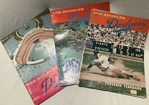 Lot of 3 1960's Los Angeles Dodgers Yearbooks 1961 1962 1963 Very Good Condition