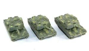 3 Vintage Hard Plastic Toy Military USA Tanks PT-339 Moving Turret on Wheels 4.5