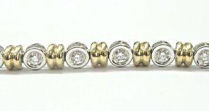 Natural Round Brilliant Diamond Two Tone Bezel Set Tennis Bracelet 1.20Ct 14KT