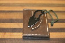 Crazy Horse Leather Credit Card Wallet with Mini Knife