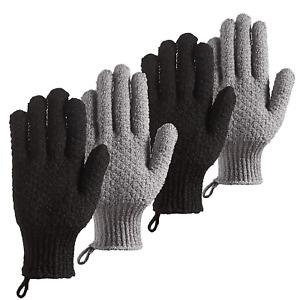 CLEEDY Bath Exfoliating Gloves Scrub - 4 Pcs (2Pairs) Lengthened and Large Exfol