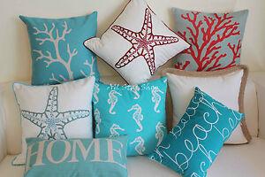 "Art Aqua White Sea Star Home Decor Cotton CUSHION COVER PILLOW CASE 18"""
