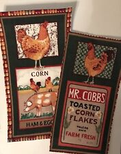 XL Good Morning Farm Patches- Iron On Fabric Appliques, Fall, Chickens, Corn
