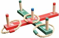 Wooden Quoits Ring Toss Pegs Game & 5 X Rope Rings Garden Hoopla Family Set 1011