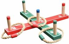 WOODEN QUOITS RING TOSS PEGS GAME & 5 x ROPE RINGS GARDEN HOOPLA FAMILY KIDS SET