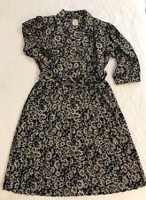 Vintage Breli Originals Dress Womens Size 16 Navy Cream Floral Pleated Belted