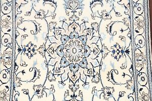 Wool&Silk Light Color Floral Nain Ivory Medallion Oriental Area Rug Carpet 4'x6'