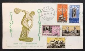 italia 1959 olimpiadi di roma serie su busta primo giorno cod.bu.124