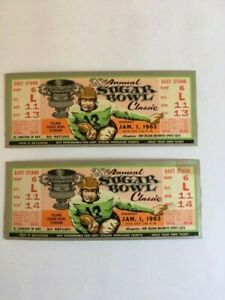 Two 1962 Sugar Bowl unused tickets