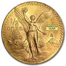 Random Year 1/2 oz Gold Mexican Onza / Libertad Coin Brilliant Uncirculated BU